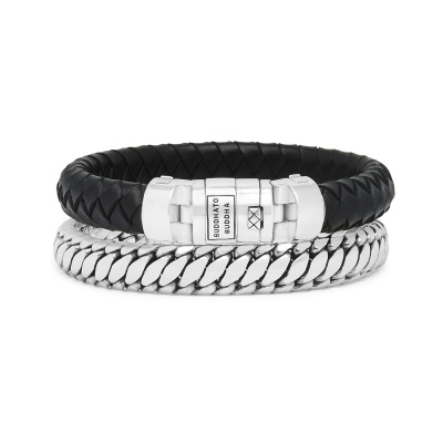 Buddha to Buddha Leather Beads Ben Armbanden Set 008BL (Lengte: 17.00-21.00 cm)