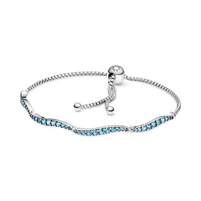 Pandora Timeless 925 Sterling Zilveren Blue Wavy Slider Armband 599436C01 (Lengte: 23.00 - 25.00 cm)