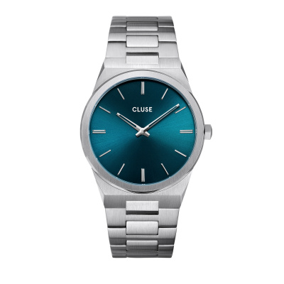 CLUSE Vigoureux Zilverkleurig/Blauw horloge CW0101503003