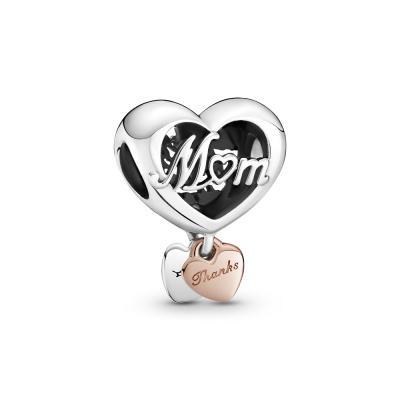 Pandora People 925 Sterling Zilveren Roségoudkleurige Thank You Mum Heart Hanger 789372C00