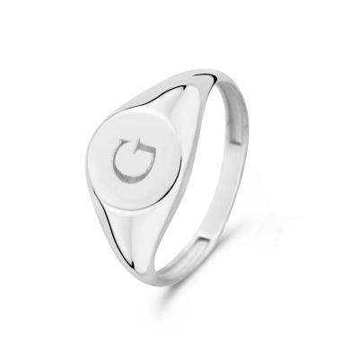 Isabel Bernard Saint Germain Lauren 14 Karaat Witgouden Initial Ring IB330035G (Letter: G)