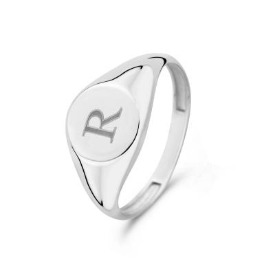Isabel Bernard Saint Germain Lauren 14 Karaat Witgouden Initial Ring IB330035R (Letter: R)