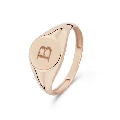 Isabel Bernard La Concorde Lauren 14 Karaat Rosé Gouden Initial Ring IB330036B (Letter: B)