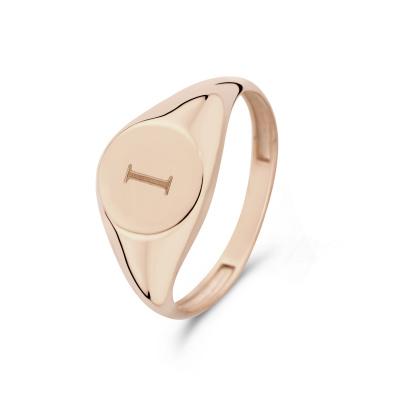 Isabel Bernard La Concorde Lauren 14 Karaat Rosé Gouden Initial Ring IB330036I (Letter: I)