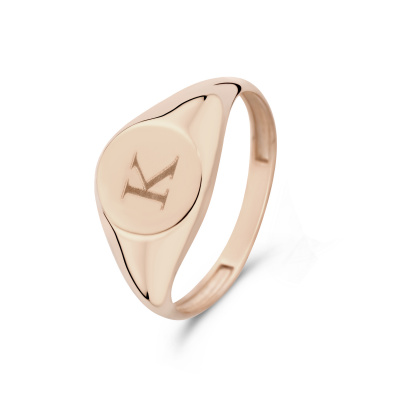 Isabel Bernard La Concorde Lauren 14 Karaat Rosé Gouden Initial Ring IB330036K (Letter: K)