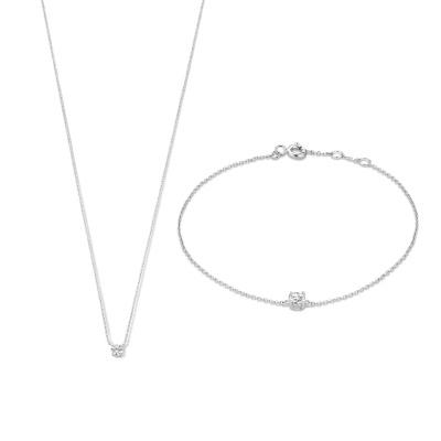 Cadeau d'Isabel 14 karaat witgouden collier en armband giftset
