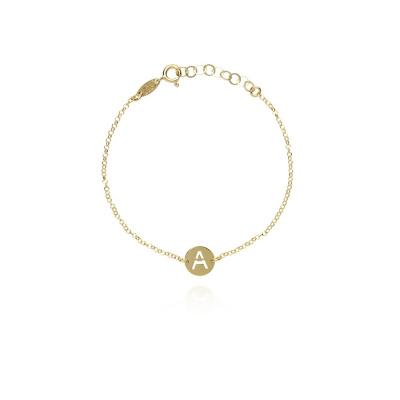 LOTT. gioielli 925 Sterling Zilveren Goudkleurige Initial armband INBRS-G67750 Letter A-Z