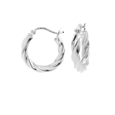 Karma 925 Sterling Zilveren Plain Hoops Twist and Turn Oorknoppen M2786