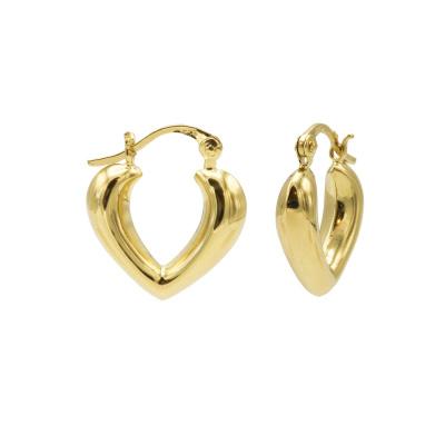 Karma 925 Sterling Zilver Goudkleurige Plain Hoops Heart Shape Ribble Oorbellen M3145GP