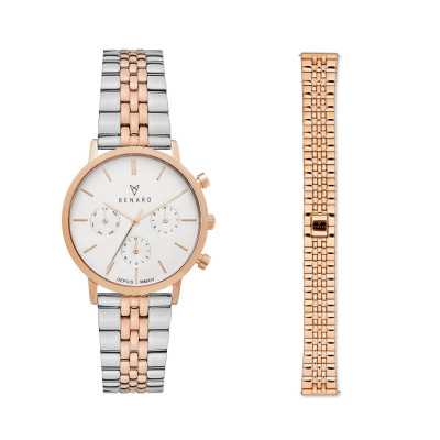 Renard Cadeau Du Renard Set  Dameshorloge Zilver- En Rosé Kleurig Met Horlogeband  RW90012