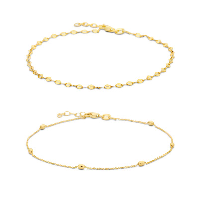 Selected Jewels Selected Gifts 925 sterling zilveren goudkleurige set enkelbandjes SJSET2100883