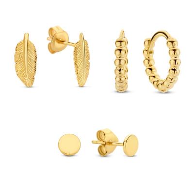 Selected Jewels Selected Gifts 925 sterling zilveren goudkleurige set oorbellen SJSET2100894
