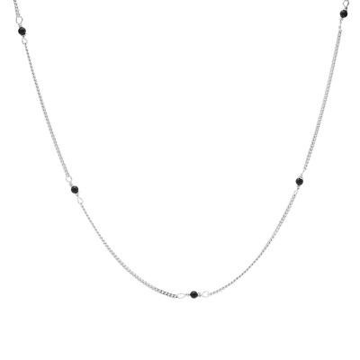 Karma 925 Sterling Zilveren Tiny Onyx Ketting T255S (Lengte: 38.00 - 45.00 cm)