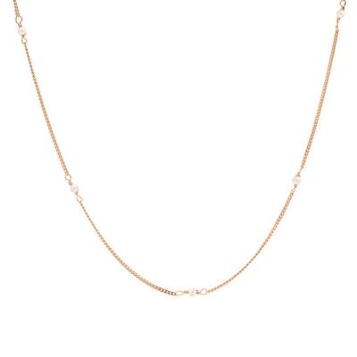 Karma 925 Sterling Zilver Roségoudkleurige Tiny Pearls Ketting T257RP (Lengte: 38.00 - 45.00 cm)