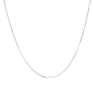Karma 925 Sterling Zilveren Tiny Pearls Ketting T257S (Lengte: 38.00 - 45.00 cm)