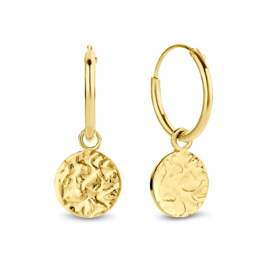 Violet Hamden Luna 925 Sterling Zilveren Goudkleurige Full moon hammered hoops Oorbellen VH16034