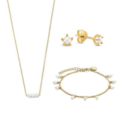 Violet's Gift 925 sterling zilver goudkleurige set ketting, armband en oorknoppen VH90029